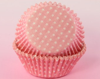 100x, 2'' Standard Size Cupcake Liners, Baking Cups, Pink Polka Stars, 2'' x 1 1/4''