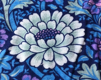 Vintage Heavy Floral 70's Fabric in blues, pinks & purples