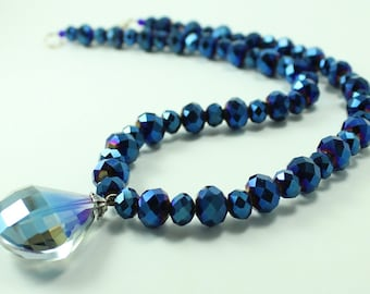 Electric Blue Crystal Necklace