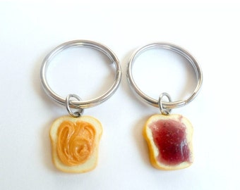 ON SALE Peanut Butter and Jelly Keychain Keyring Set, Best Friend's Keychains, Cute :D
