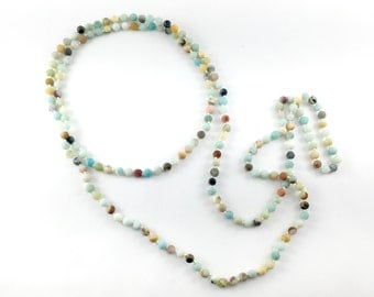 Double Wrap, Hand-knotted Necklace - Amazonite