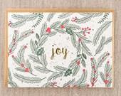 Joy Spruce Letterpress Holiday Card