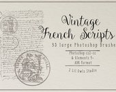 Vintage French Scripts 1 Photoshop Brushes