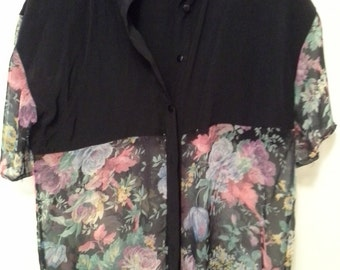 80s Sheer Panel Black Floral Button Up Shirt