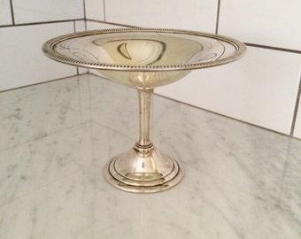 Silver Pedestal Bowl, Silver Plated Dish, Vintage Silver Pedestal, Vintage Silver Metal Bowl, Wedding Decor
