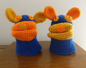 Children's Royal Blue Ugly Puppy Crocheted Puppet Mitts (Ages 5-8)