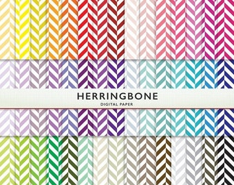 SALE Herringbone Digital Paper - 45 Sheets  - Rainbow  Scrapbooking Commercial Instant Download & Printable G7133