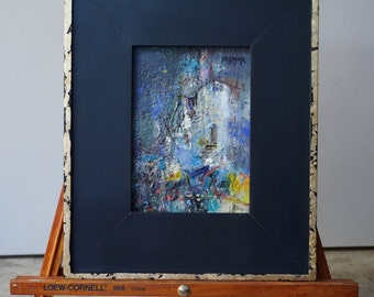 """Original Oil Painting, Miniature, Abstract, Cityscape, """"This is Where I will Stay"""", 7""""x 5"""" (12""""x10"""" framed), oil on panel, by Grigor Malinov"""