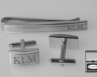 Personalized Cufflinks - Engraved Cufflinks - Monogrammed Tie Bar - Silver Verona Cuff Link & Tie Clip Set - Groomsmen - Buy 6, Get 7th Free