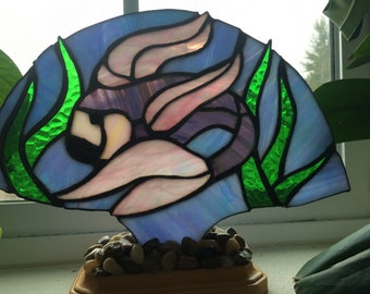 Tropical Fish Stained Glass Fan Lamp, Night Light