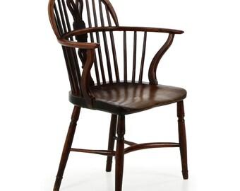 English Antique Yew and Elm 19th Century Windsor Arm Chair circa 1810-40, 605APT14P