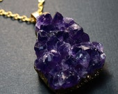 Raw Amethyst Druzy Necklace, Amethyst Cluster Necklace