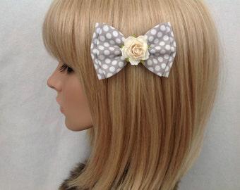 Grey white polka dot rose hair bow clip rockabilly psychobilly Lolita pin up girl pretty cute vintage shabby chic pretty wedding flower