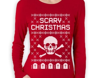 Scary Skull Ugly Christmas Sweater - Women's Long Sleeve
