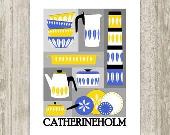 Scandinavian Kitchen Printable, Blue Yellow Cathrineholm Retro Wall Decor, Print, Nordic Mid Century Art Kitchen Poster, Instant Download