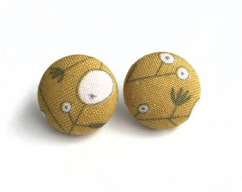 Abstract dandelion mustard yellow fabric button earrings