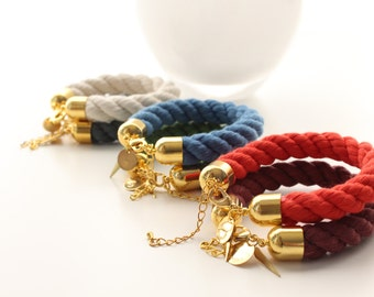 Thick Cotton Hand Dyed Cord Brass Cap Bracelets