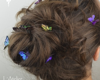 7 pieces : Iridescent Butterflies Hair pins & clips