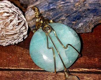 SageAine: Blue Aragonite Crystal w/ Brazilian Quartz Crystal Amulet,Reiki Charged, Crystal Healing, Third Eye Chakra