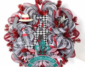 Alabama Crimson Tide Fan Deco Mesh Door Wreath.