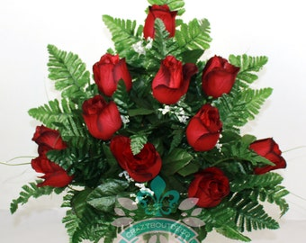 Gorgeous  Classic Red Roses Cemetery Arrangement For Mausoleum