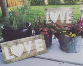 Rustic reclaimed wood love sign handmade with love