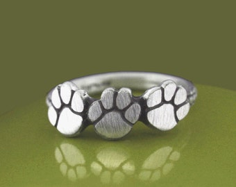 Petite Sterling Silver Triple Paw Ring, Animal Jewelry