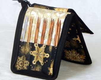 """12 pair capacity Interchangeable knitting needle and crochet hook keeper case storage for needles 3.5"""" to 6.25"""" in length up to size US 10.5"""