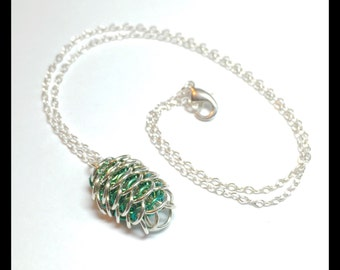 Green Dragon Egg - Chainmaille Pendant - Forest