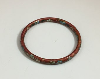 Vintage Rust Brown Cloisonné Flower Bangle Bracelet