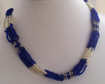 Vintage Blue White Seed Bead Necklace Choker