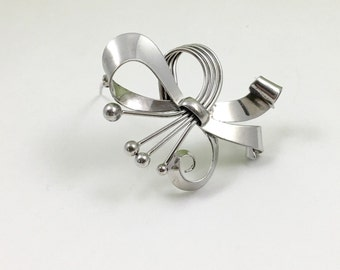 Unique Sterling Silver Floral Bow Brooch