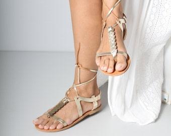 Greek Mythology inspired gold leather sandals, greek leather sandals, gold leather sandals, Womens EU size 39, Womens US size 8.5
