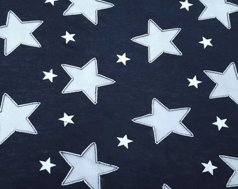 Navy Cotton Jersey Star Fabric by the Yard Patriotic Burnout Stars 10/15 4th of July