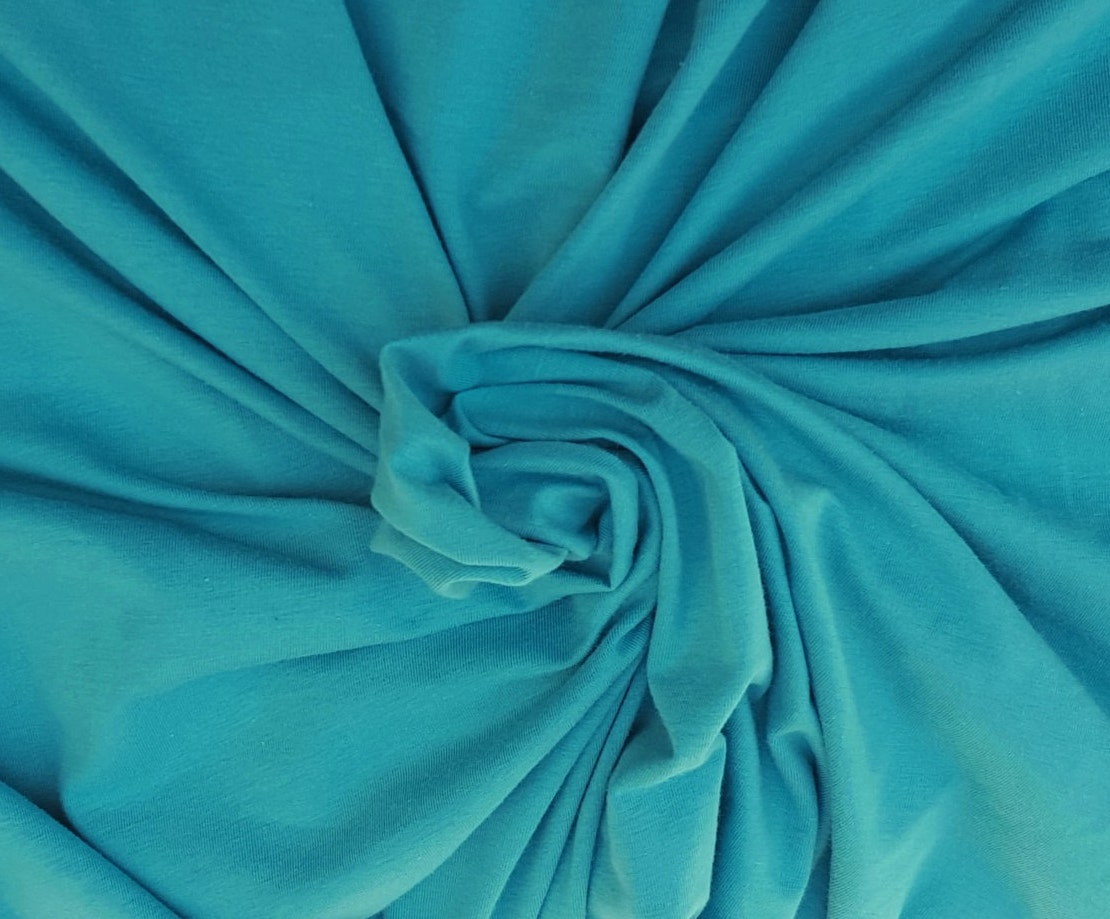 Turquoise Organic Cotton Spandex Fabric Eco Friendly Jersey