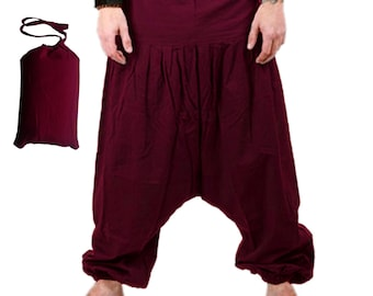 Harem Pants -   Maroon Aladdin Pants - Harem Trousers - Yoga Pants - Cotton Afghani Pants - Alibaba Pants - Hammered - Men - Woman