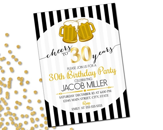 Th Birthday Party Invitation Cheers To Years Beer - Black and white 30th birthday party invitations
