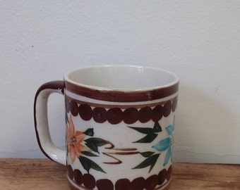 Vintage Stoneware Coffee Mug Mexican