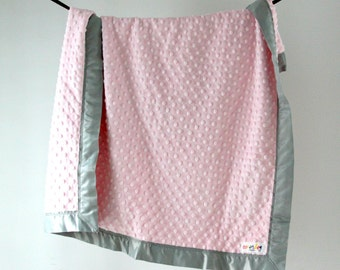 Baby Blanket, Light Pink Minky Dot with Gray Satin Trim
