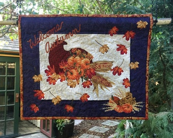 Wall Hanging - Welcome Autumn Fabric Art