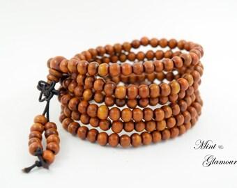 Mala Bracelet, Buddhist Bracelet, Mala Necklace, Yoga Necklace, Wood Mala, Beaded Bracelet, Mala Buddhist Bracelet, Wood Beaded Bracelet