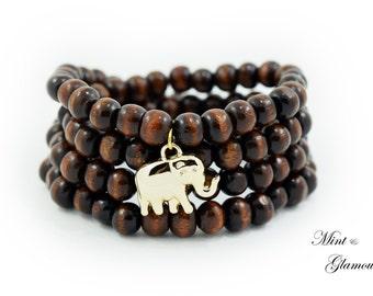 108 Wood Mala Bracelet, Buddhist Bracelet, Elephant Mala, Mala Beads, Wood Bead Mala, Dark Brown Wood Mala Beads, Elephant Bracelet, Gift