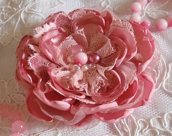 Larger Singed  Flower Singed Rose Fabric Flower Fabric Rose With Pearl (3-3/4 inches) In Colonial Roser -423-01