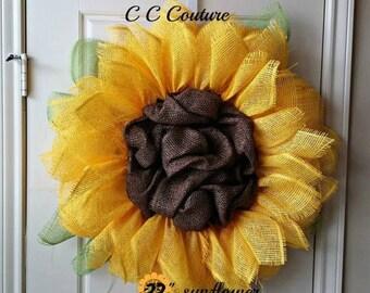 Sunflower Wreath,Wreath,Wreath for Summer,Sunflower,Summer Wreath,Wreath for Door,Front Door Wreath,Yellow Sunflower,Decomesh Wreath
