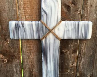 Grey and White Fused Glass Wall Cross