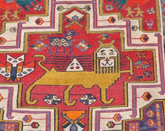 On HOLD for MONTI --Persian Sumak with Lions, Goats & Birds -- 10 ft. by 4 ft.