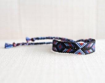 Friendship Bracelet Woven Bracelet Tribal Diamond Chevron Blue Navy Red Stocking Stuffer