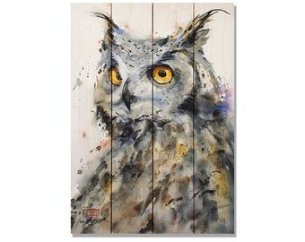Owl Print on Cedar. Bird Decor, Bird Print. Outdoor Safe Wall Hanging. Home Decor. 14x20 (DCTW1420)