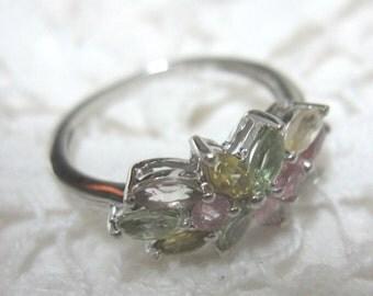 Multi-Tourmaline Sterling Silver Ring Size 6 Minus