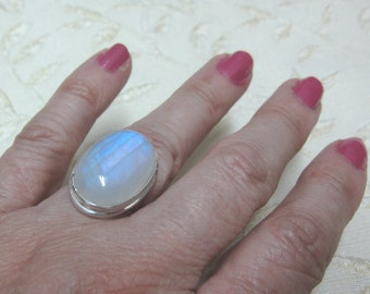 Large Rainbow Moonstone Sterling Silver Ring Size 7